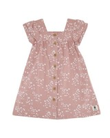 Girls Cluster Ditsy Button Dress -  dustypink