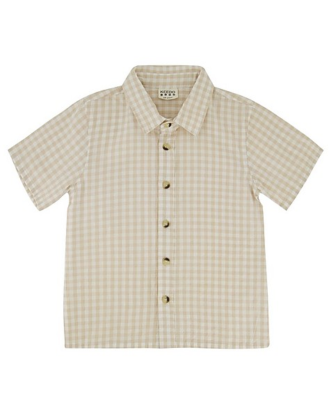 Boys Gingham Shirt Set -  milk