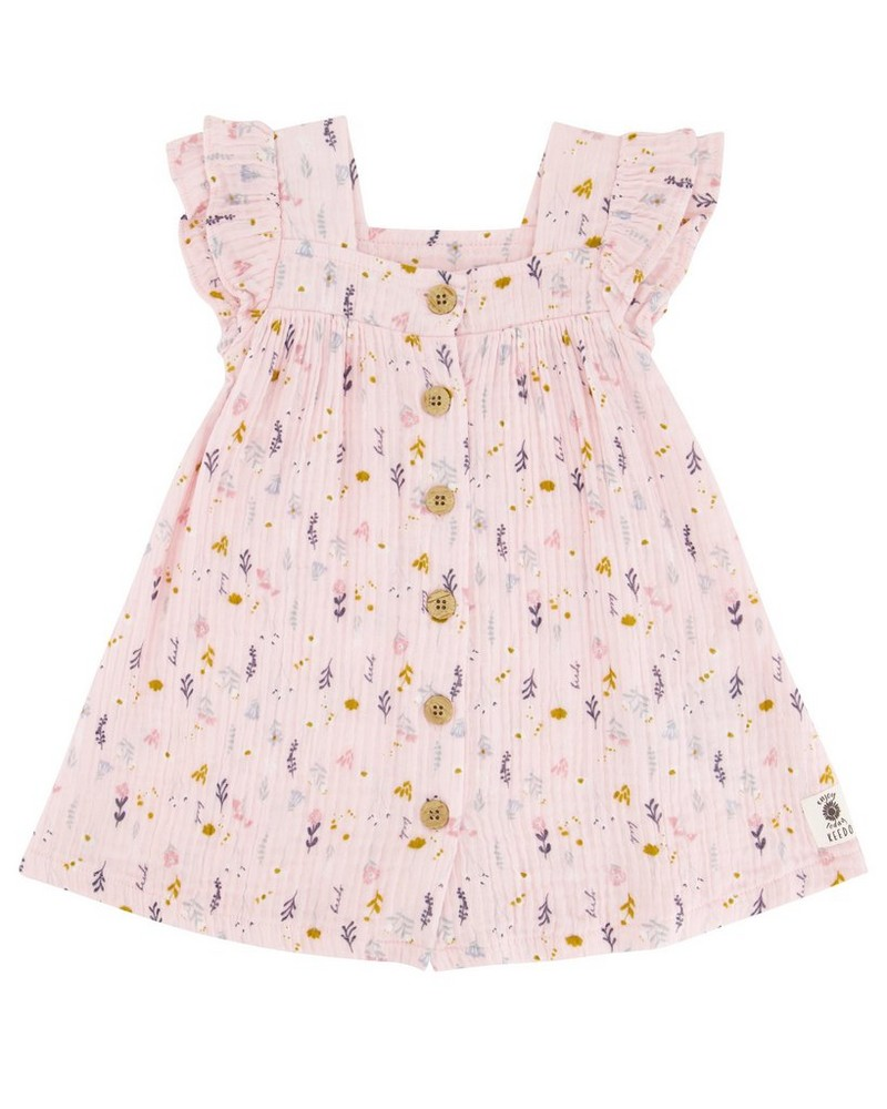 Baby Girls Vertical Ditsy Button Dress -  palepink