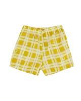 Girls Daisy Checkered Shorts Set -  eggyellow
