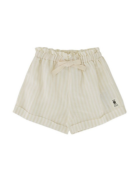 Girls Stone Striped Paperbag Shorts -  oatmeal