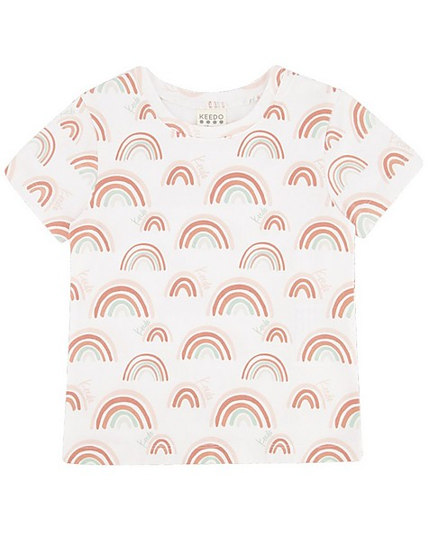 Girls Rainbow PJ Set -  white