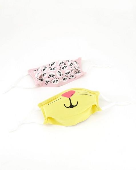 Girls Keedmask 2-Pack Toggle Ditsy Panda Masks  -  assorted