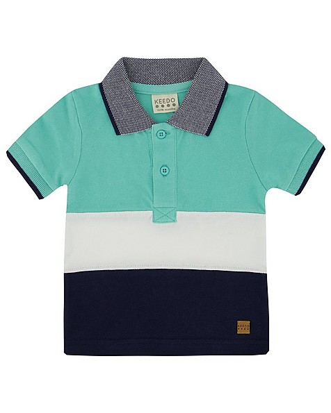 Baby Boys Colourblock Golfer -  aqua