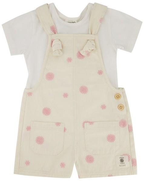 Baby Girls Knotted Daisy Dungi Set -  milk
