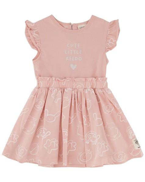 Baby Girls Mellow Contrast Dress -  dustypink
