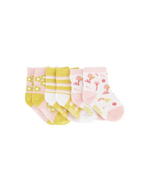 Baby Girls 3-Pack Flower Socks -  assorted