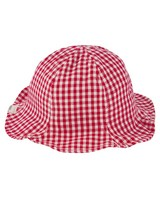 Girls Check Bow Bucket Hat -  tomato