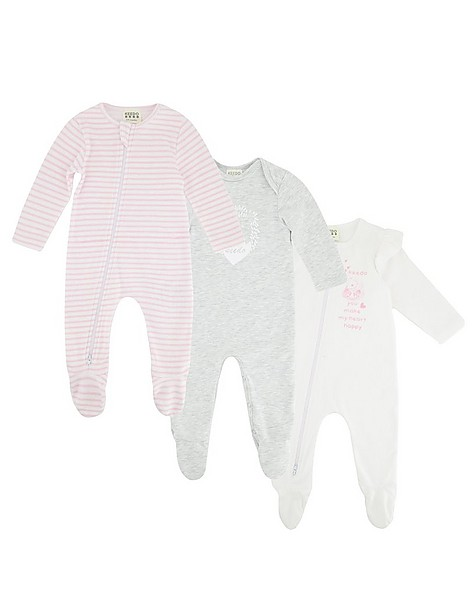 Baby Girls Perfectly Pink 3-Pack Growers -  assorted