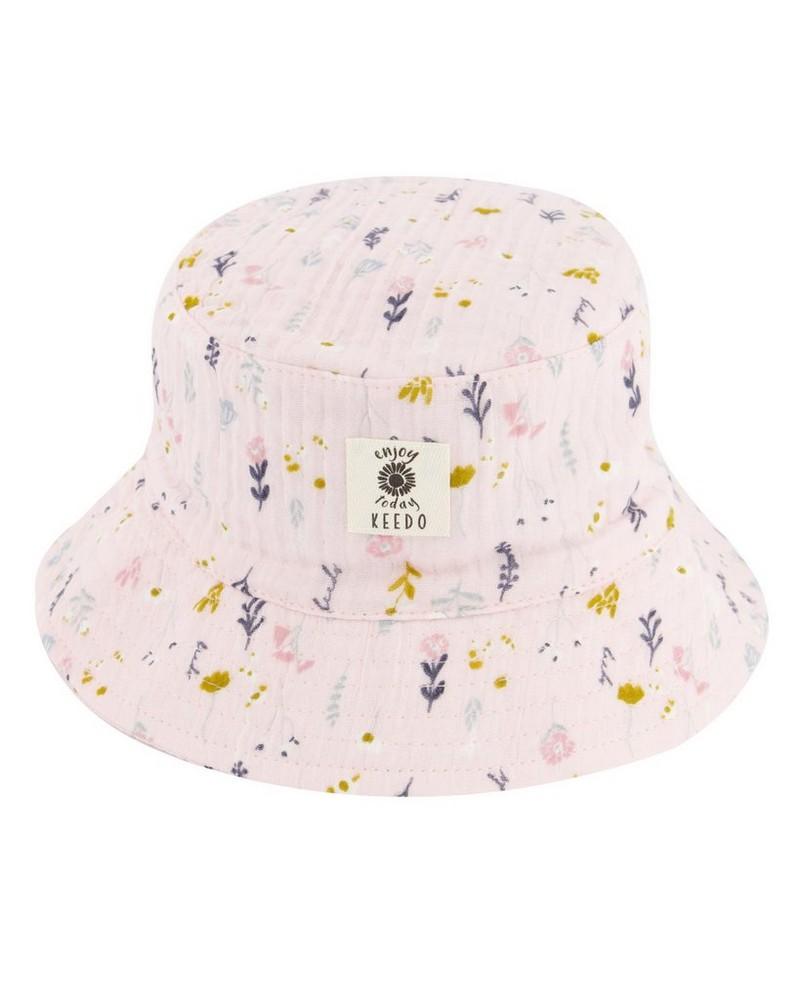 Vertical Ditsy Bucket Hat -  palepink