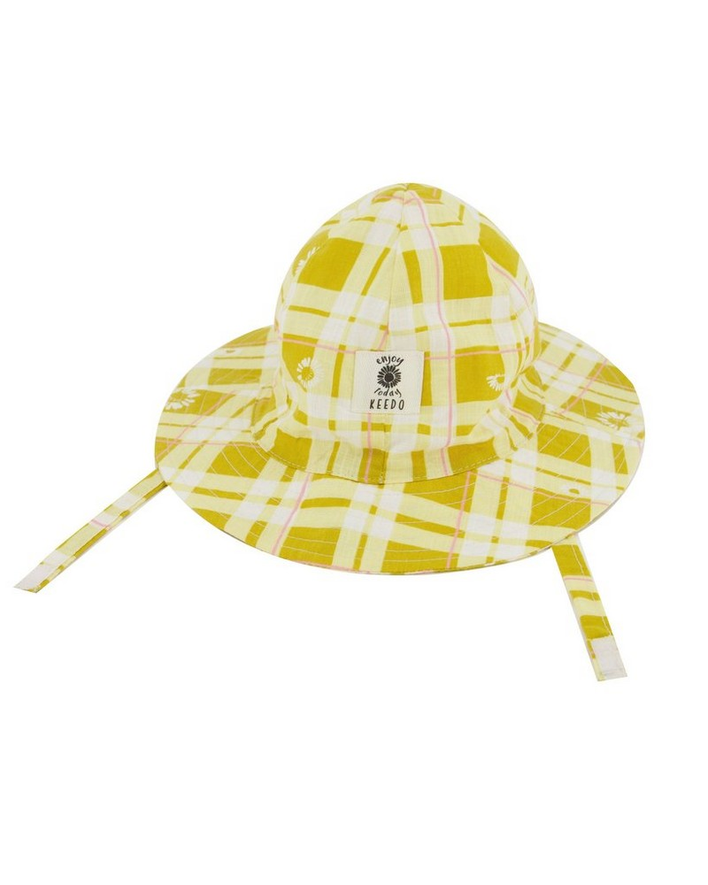 Baby Girls Daisy Checkered Bucket Hat -  eggyellow