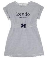 Girls Stripe Logo Dress -  white