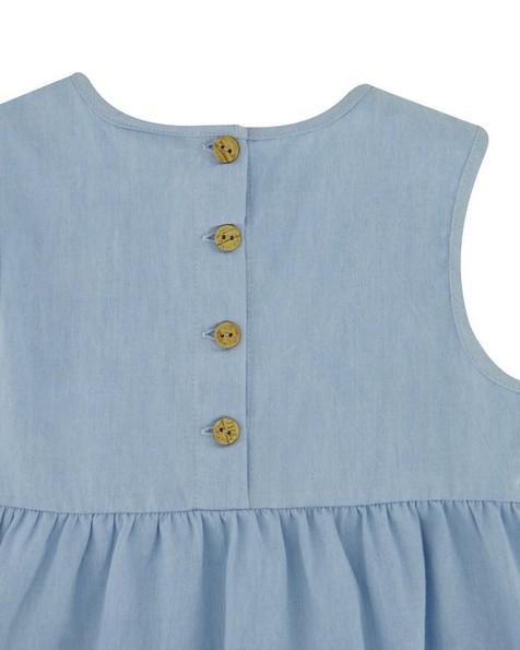 Girls Chambray Tiered Dress Set -  iceblue