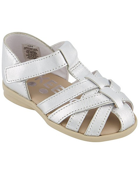 Girls Silver Strappy Sandal -  silver