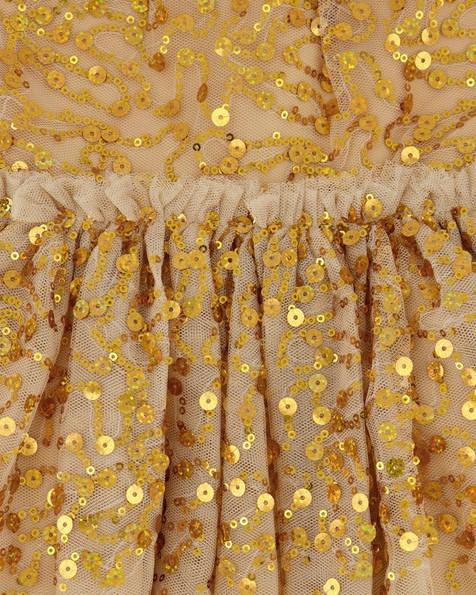 Girls Kylie Sequin Dress -  gold