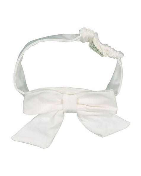 Girls White Bow Headband -  white