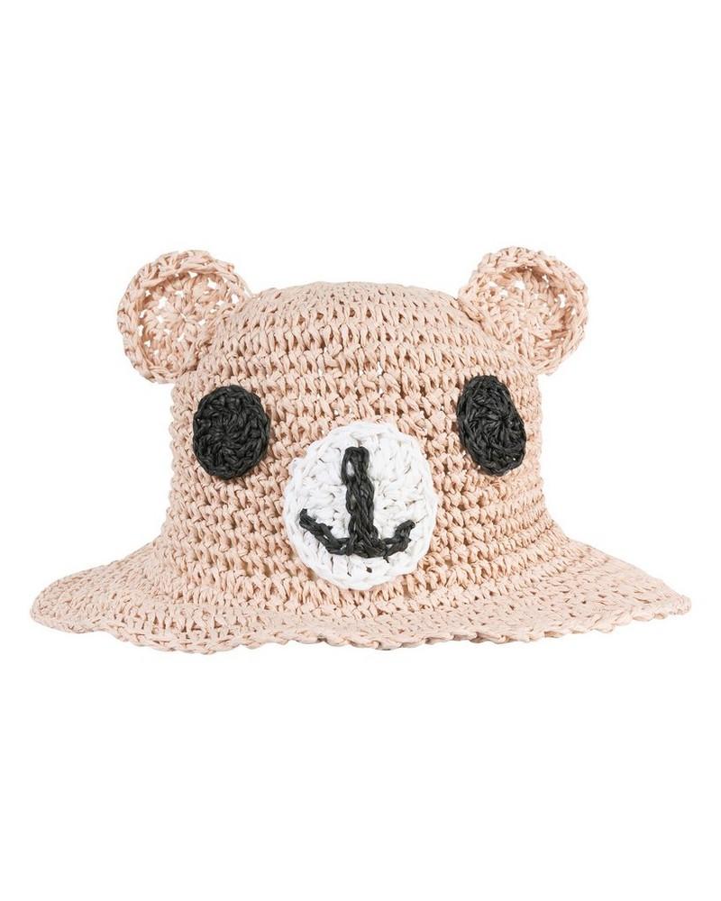 Girls Lady Bear Straw Floppy Hat -  lightpink