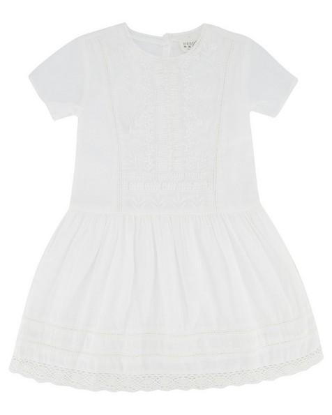 Girls Katie Anglaise Dress -  white