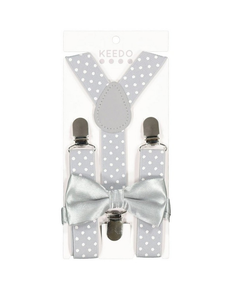 Boys Dot Suspender & Bow Tie Set -  lightgrey