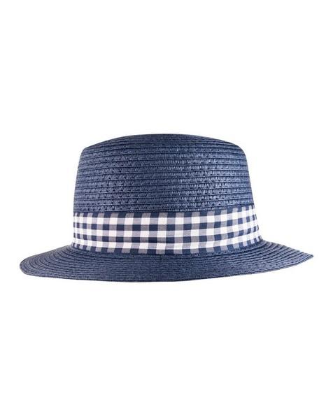 Boys Check Boater Hat -  navy