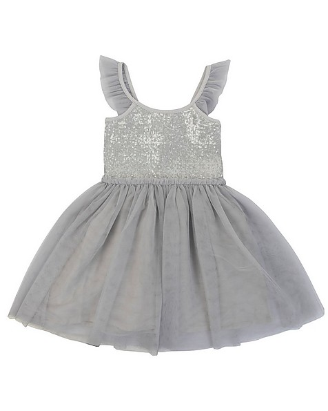 Girls Lory Party Dress -  grey