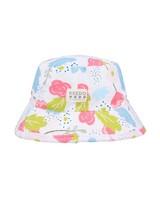 Girls Pearl Bucket Hat -  white