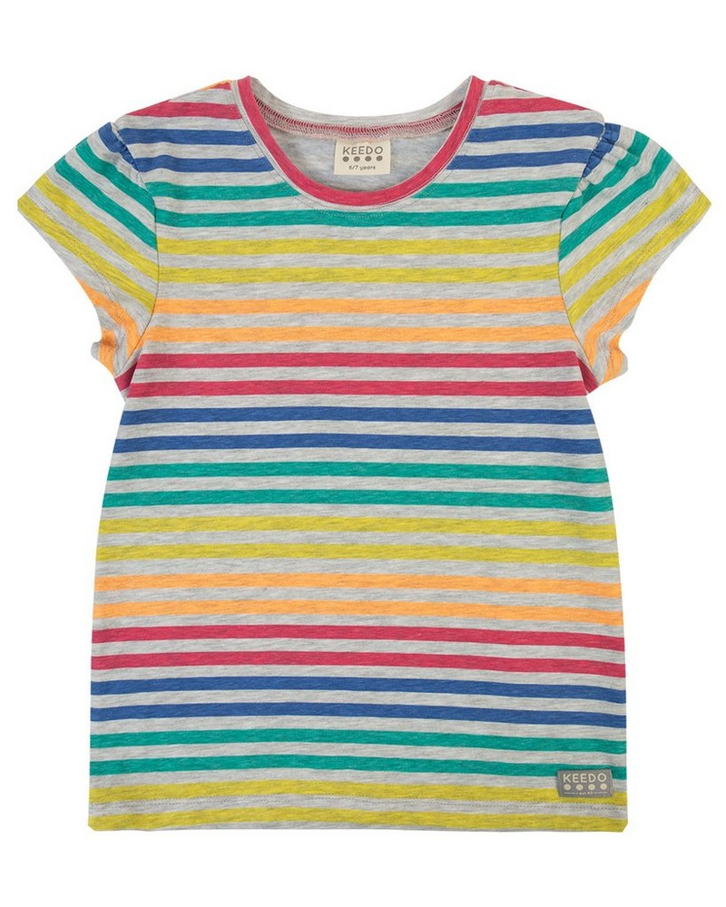 Girls Colourful Stripe Tee -  assorted