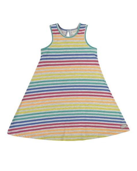 Girls Colourful Stripe Dress -  assorted