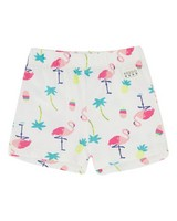 Girls Tropical Play Shorts -  white