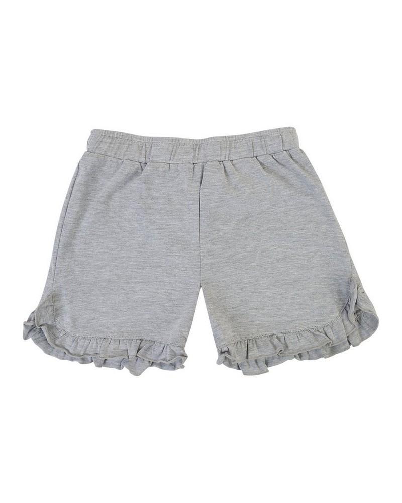 Girls Grey Melange Frilly Shorts -  lightgrey