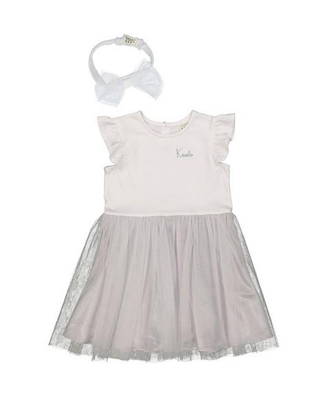 Baby Girls Silver Tutu Dress Set -  white