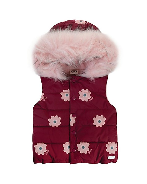 Girls Lexie Puffer Jacket -  burgundy