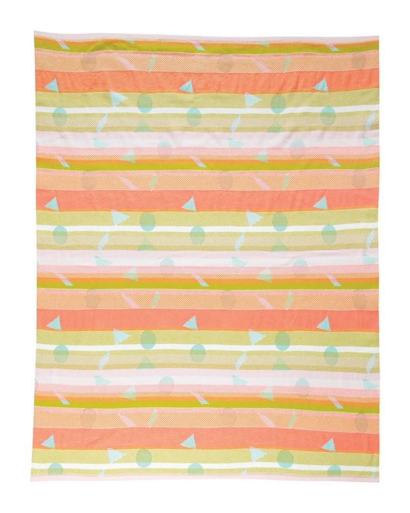 Neon Geometric Blanket  -  aqua