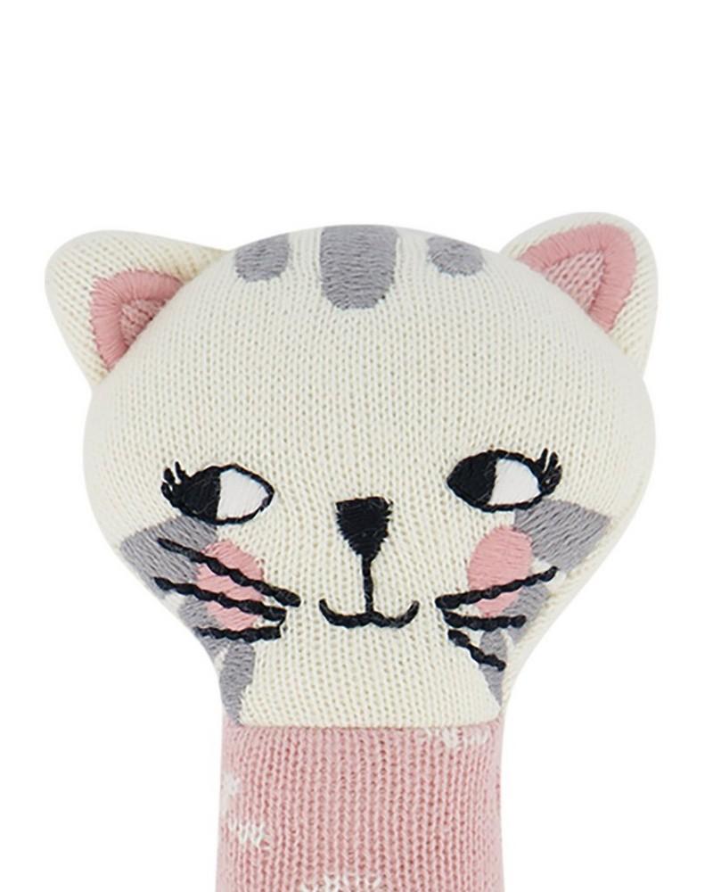 Baby Girls Cat Rattle -  dustypink