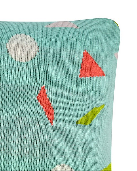 Neon Geometric Cushion -  aqua