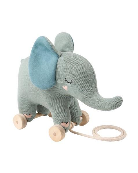 Elephant Toy on Wheels -  midblue