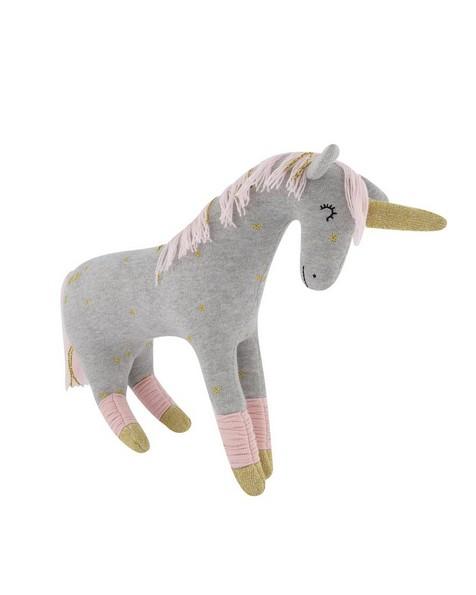 Grey Unicorn Soft Toy -  white