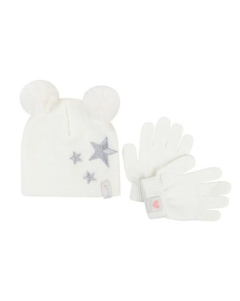 Baby Girls Maya Beanie & Glove Set -  milk