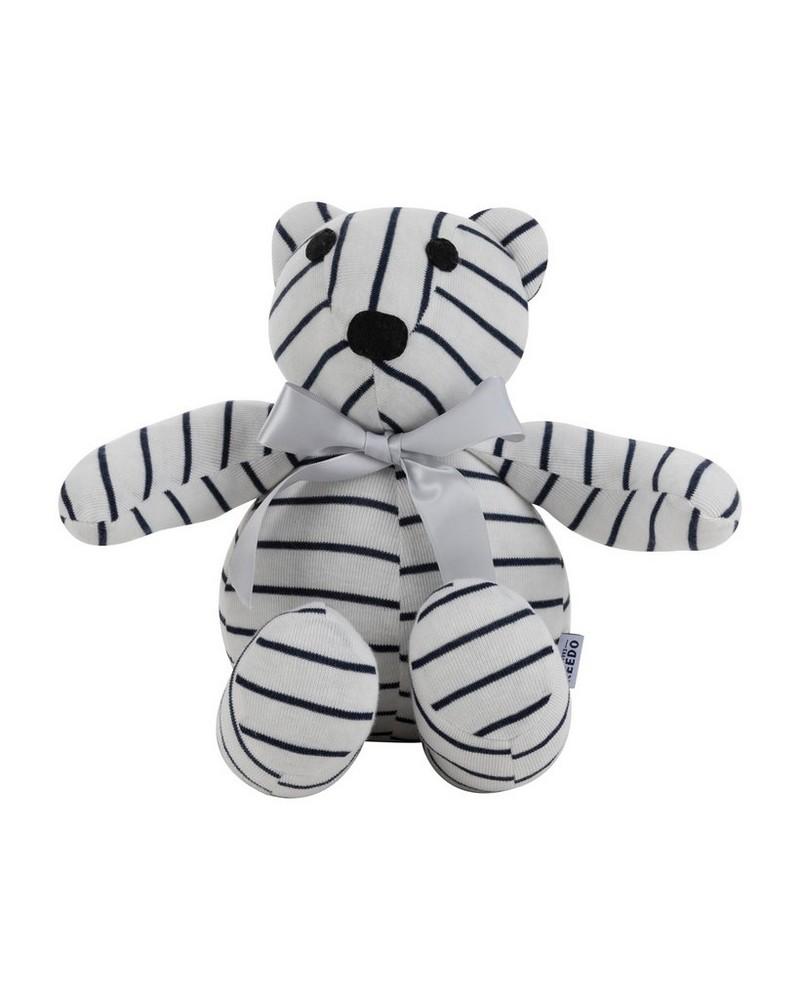 Chris Stripe Bear Toy -  white