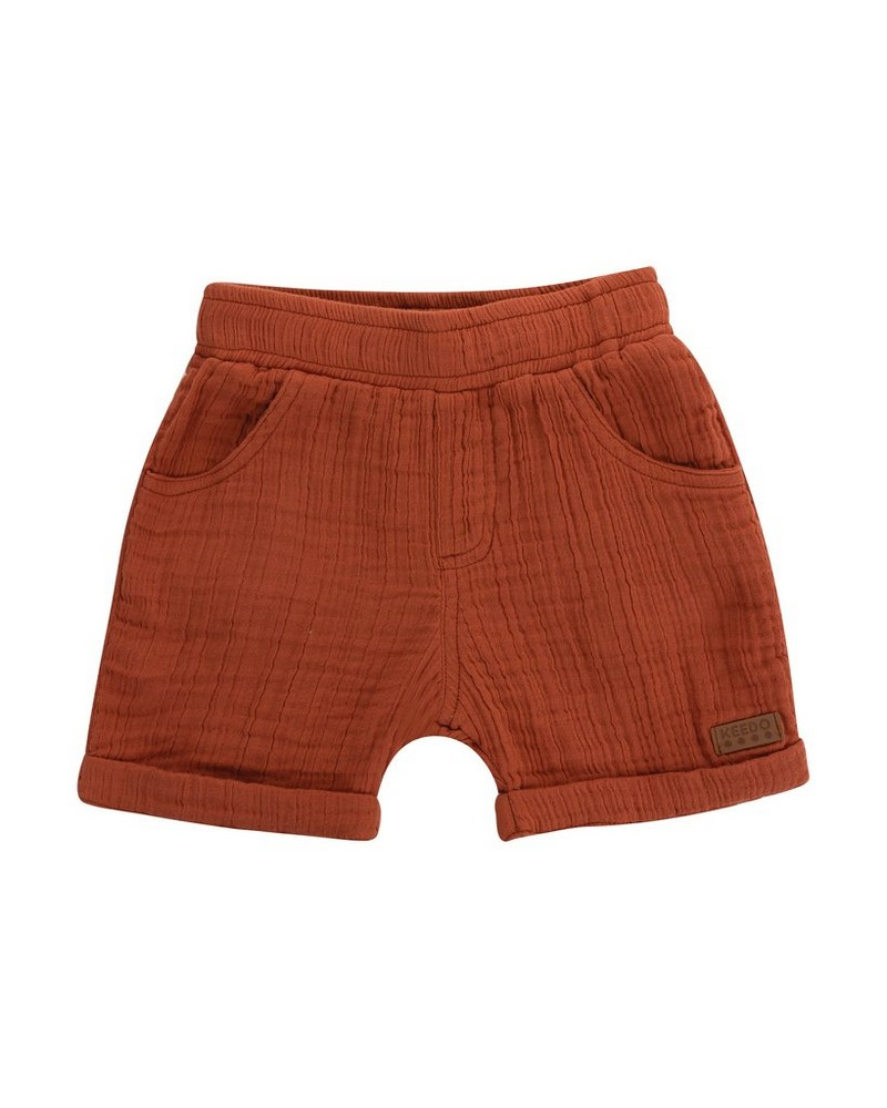 Baby Boys Ross Muslin Shorts -  rust-rust