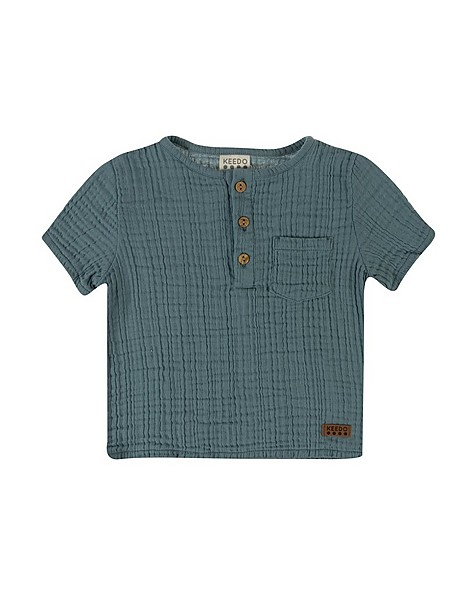 Baby Boys Ethan Muslin Shirt -  duck-egg