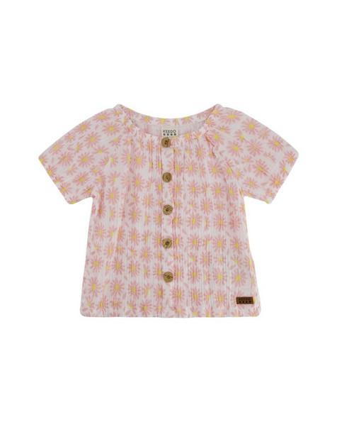 Girls Magnolia Button Top -  white