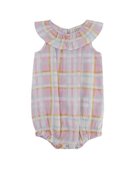 Baby Girls Dahlia Check Grow -  palepink
