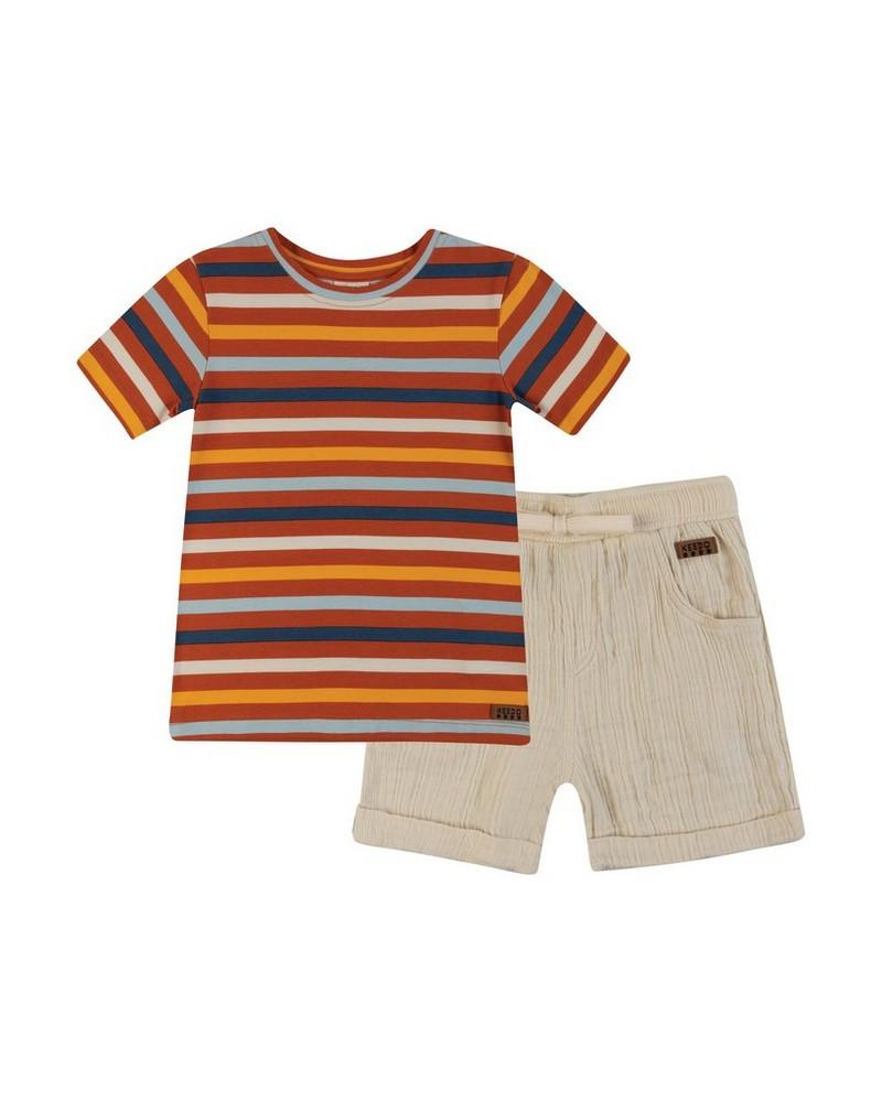 Boys Simon Stripe Set -  rust