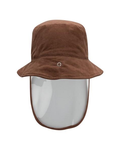 Kids Protective Brown Corduroy Bucket Hat -  tan