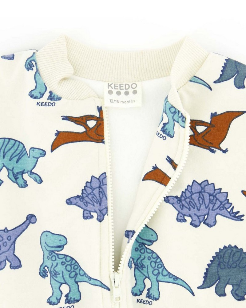 Dino Friends Soft Jacket -  milk