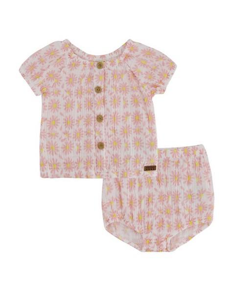 Baby Girls Magnolia Bloomer Set -  white