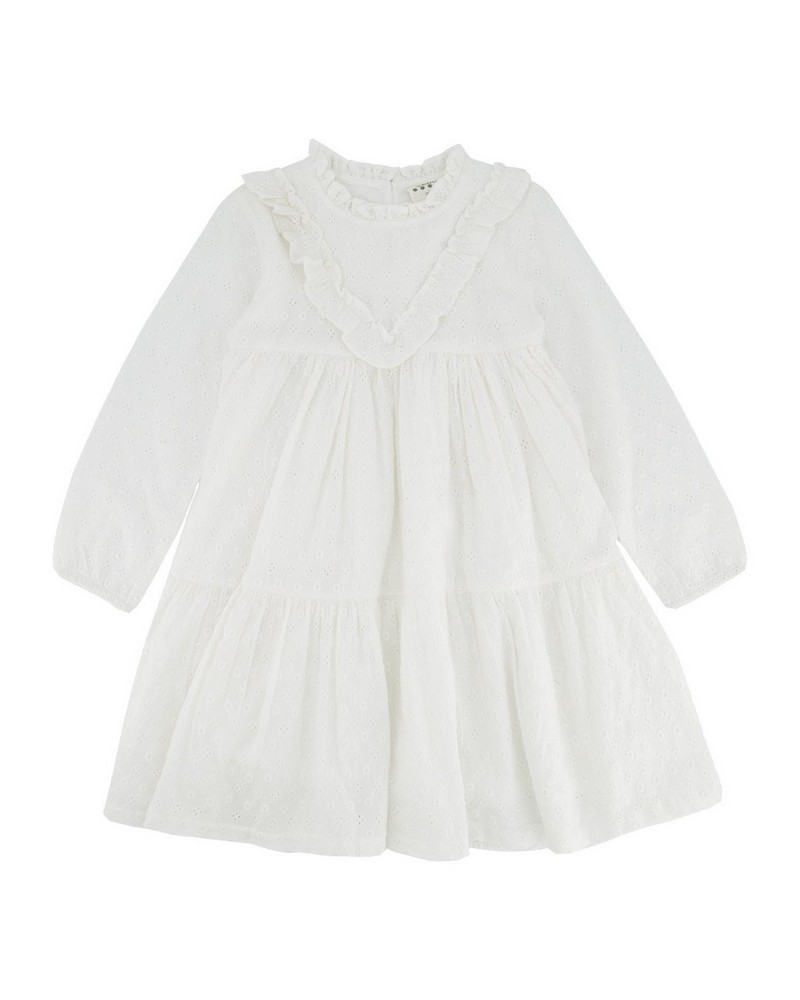 Girls Heather Angliase Dress  -  white