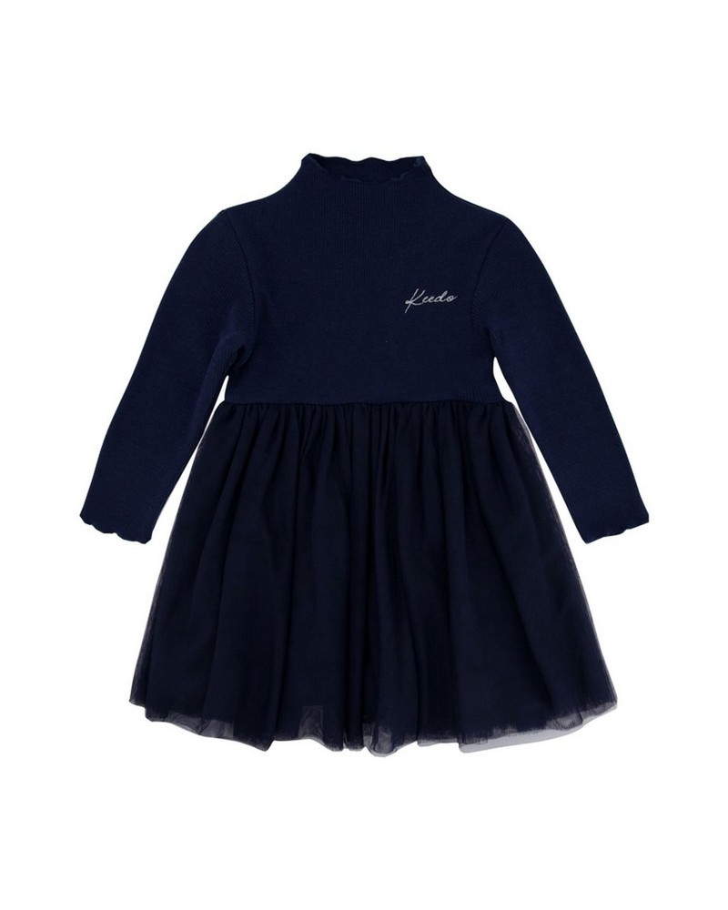 Baby Girls Indigo Dress -  navy