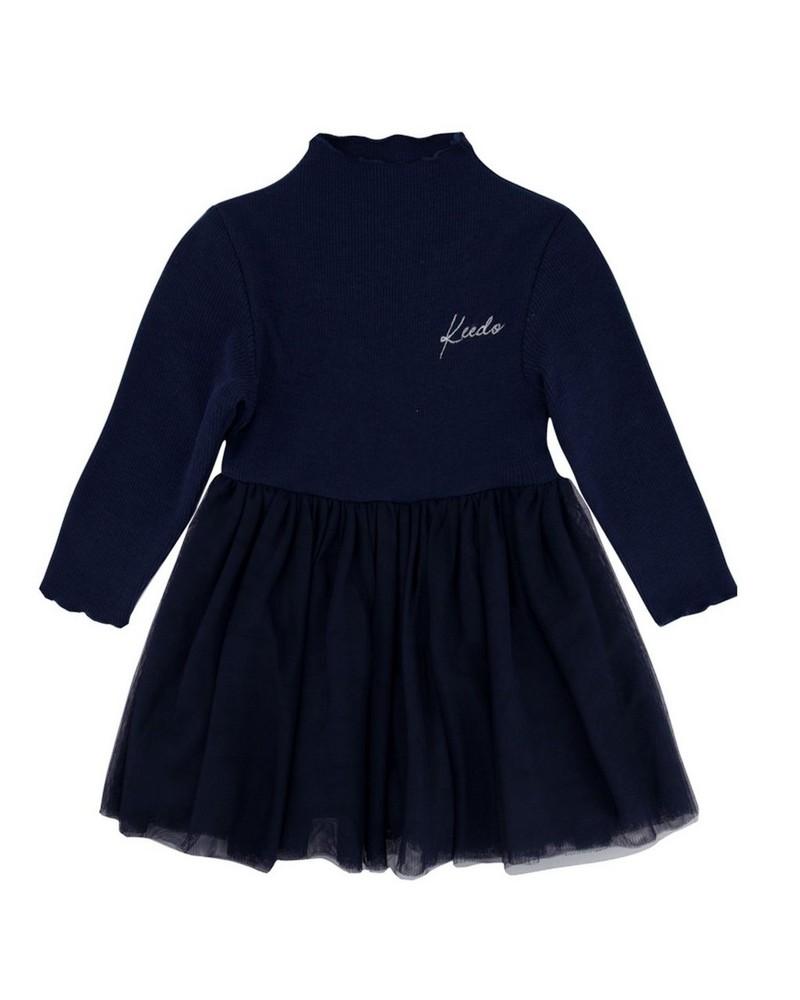 Girls Indigo Dress -  navy